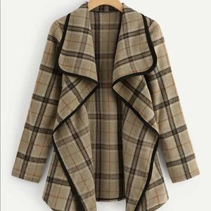 Plaid Waterfall Neck Coat